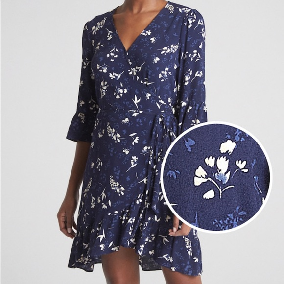 GAP Dresses & Skirts - NWOT Gap Size M Navy Floral Ruffle Wrap Dress
